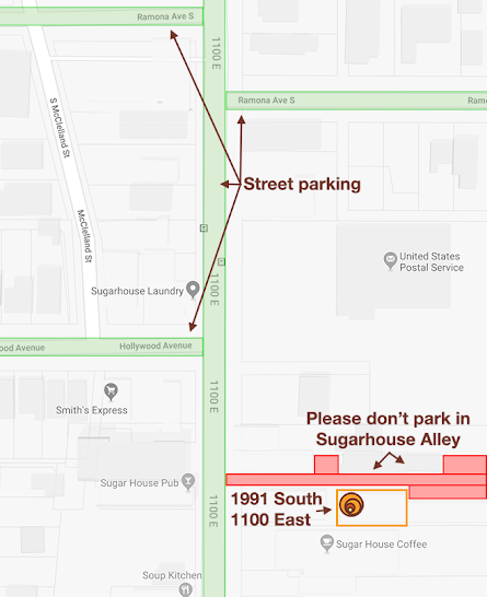 Map showing parking for Sugarhouse Alley